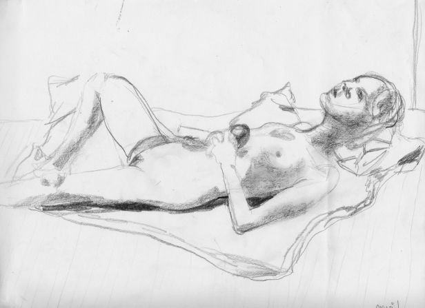 Jillian Page with apple, in 20-minute reclining pose for Figure Drawing workshop in Montreal on Oct. 20, 2013.