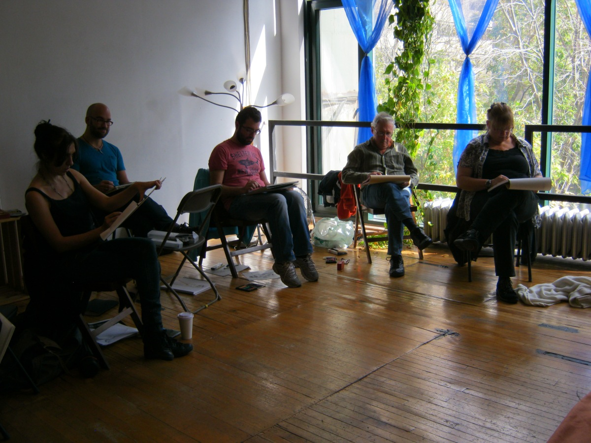 Artists sketch Jillian Page during a Figure Drawing workshop on body acceptance on Oct. 20, 2013. At left in the back, in blue shirt, is Paul Davidson, one of the co-hosts of the event.