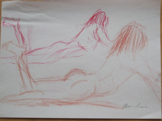 Mirror image of Jillian Page in a Figure Drawing workshop on body acceptance in Montreal on Oct. 20, 2013.