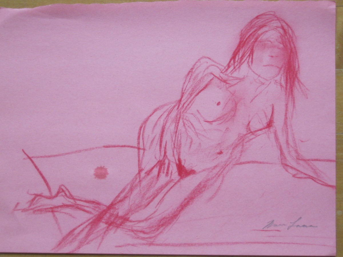 Jillian Page in 20-minute semi-reclining pose in Figure Drawing workshop on body acceptance in Montreal on Oct. 20, 2013.