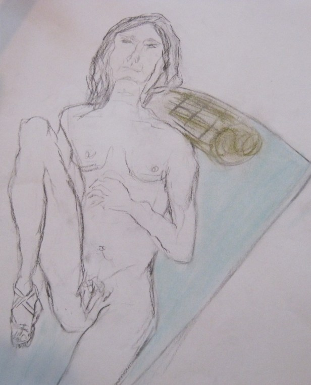 Jillian Page in 20-minute reclining pose in Figure Drawing workshop on body acceptance in Montreal on Oct. 20, 2013.