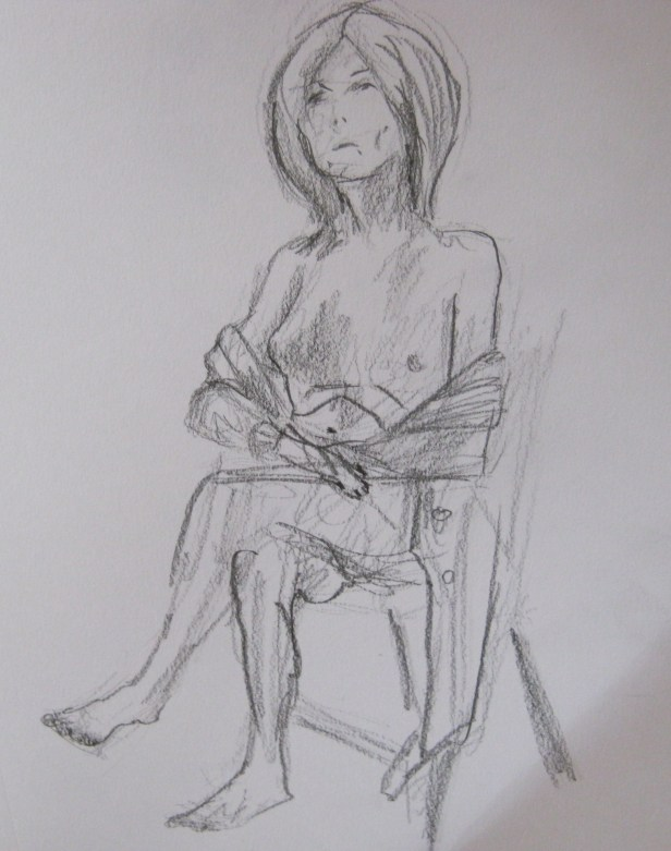 Jillian Page in sitting pose in Figure Drawing workshop on body acceptance in Montreal on Oct. 20, 2013.