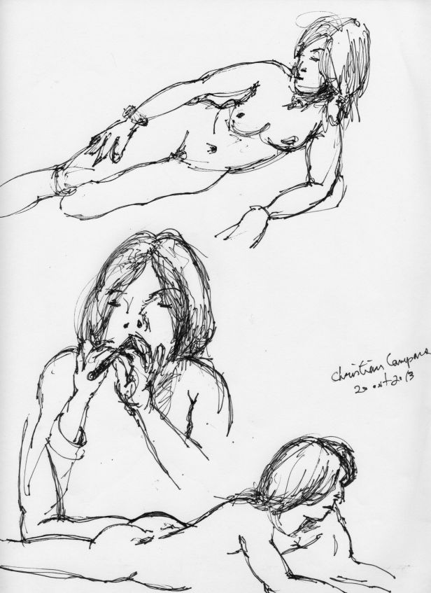 Jillian Page in two 20-minute semi-reclining poses, and one five-minute sitting pose playing my Irish whistle, at Figure Drawing workshop in Montreal on Oct. 20, 2013.