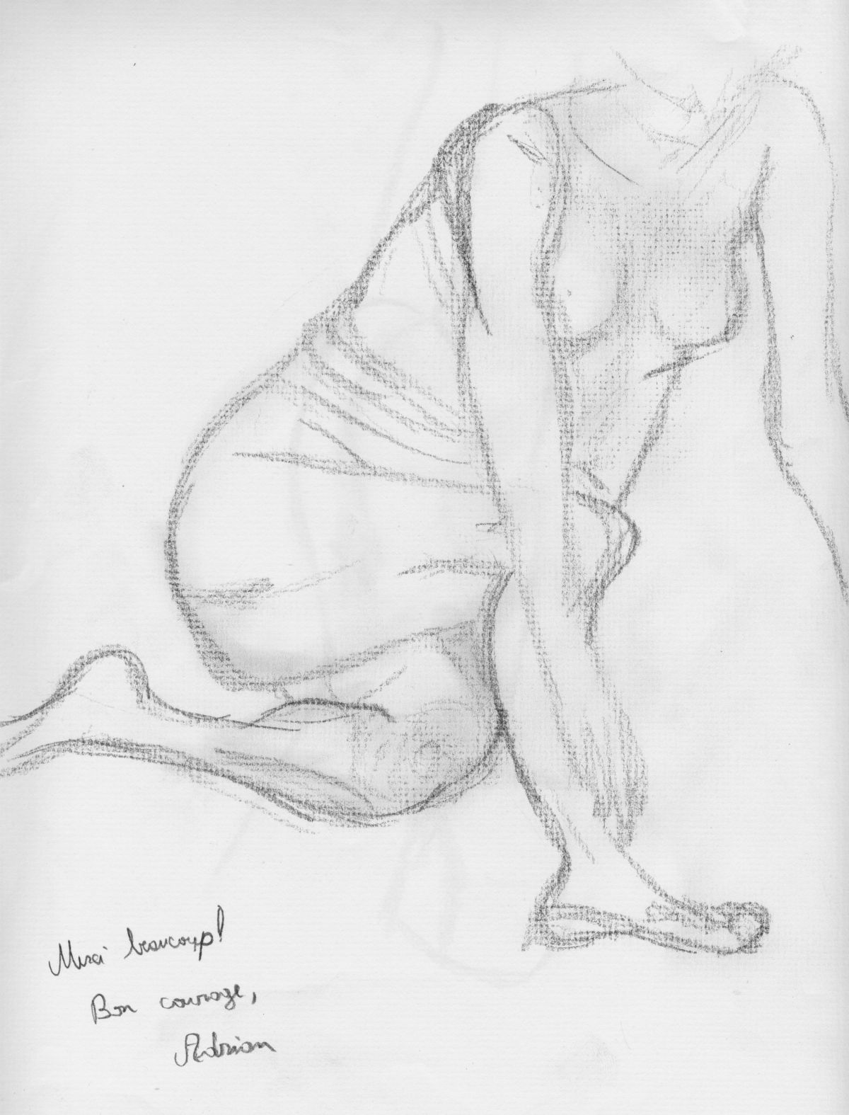 A sketch of Jillian Page done during a Figure Drawing workshop on body acceptance in Montreal on Oct. 20, 2013.