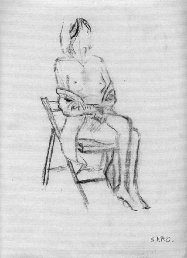 Jilllian Page in a classical sitting pose at Figure Drawing workshop on body acceptance in Montreal on Oct. 20, 2013.