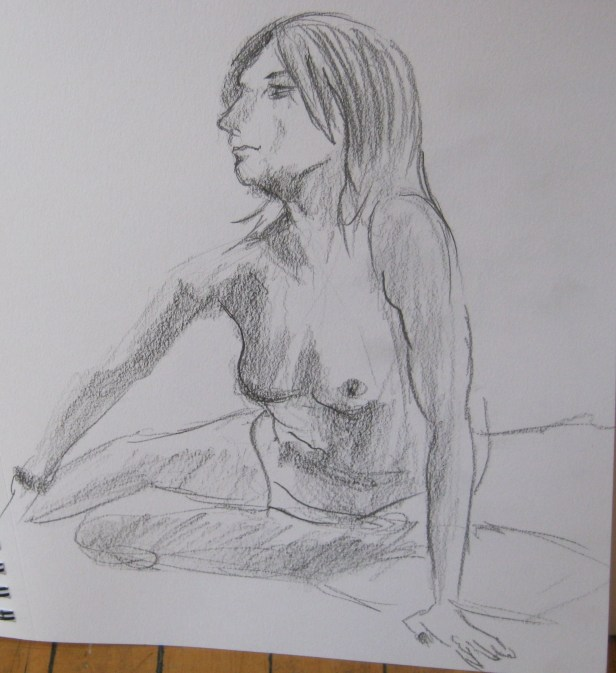 Jillian Page in a pose sketched during a Figure Drawing workshop on body acceptance in Montreal on Oct. 20, 2013.