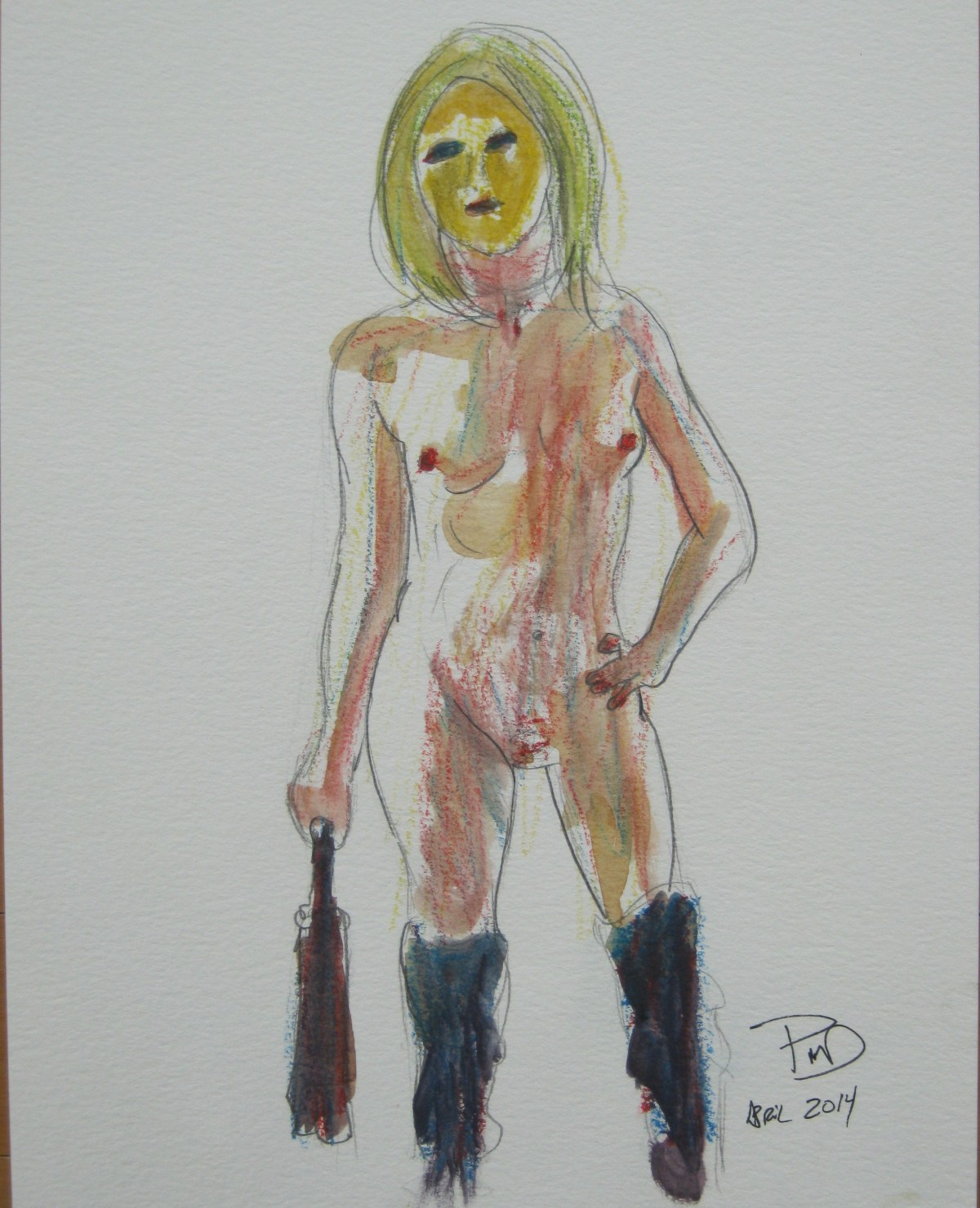 A sketch of Jillian Page wearing gold mask and boots with flogger, for artists' workshop on body acceptance in Montreal on April 27, 2014. (Photo of sketch by Jillian Page