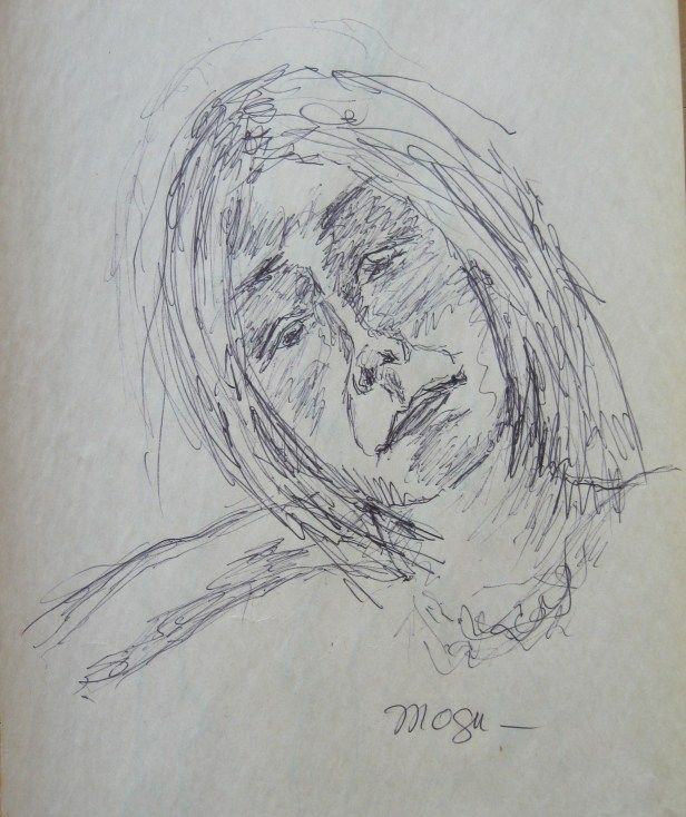 A sketch of Jillian Page created during artists' workshop on body acceptance in Montreal on April 27, 2014. (Photo of sketch by Jillian Page