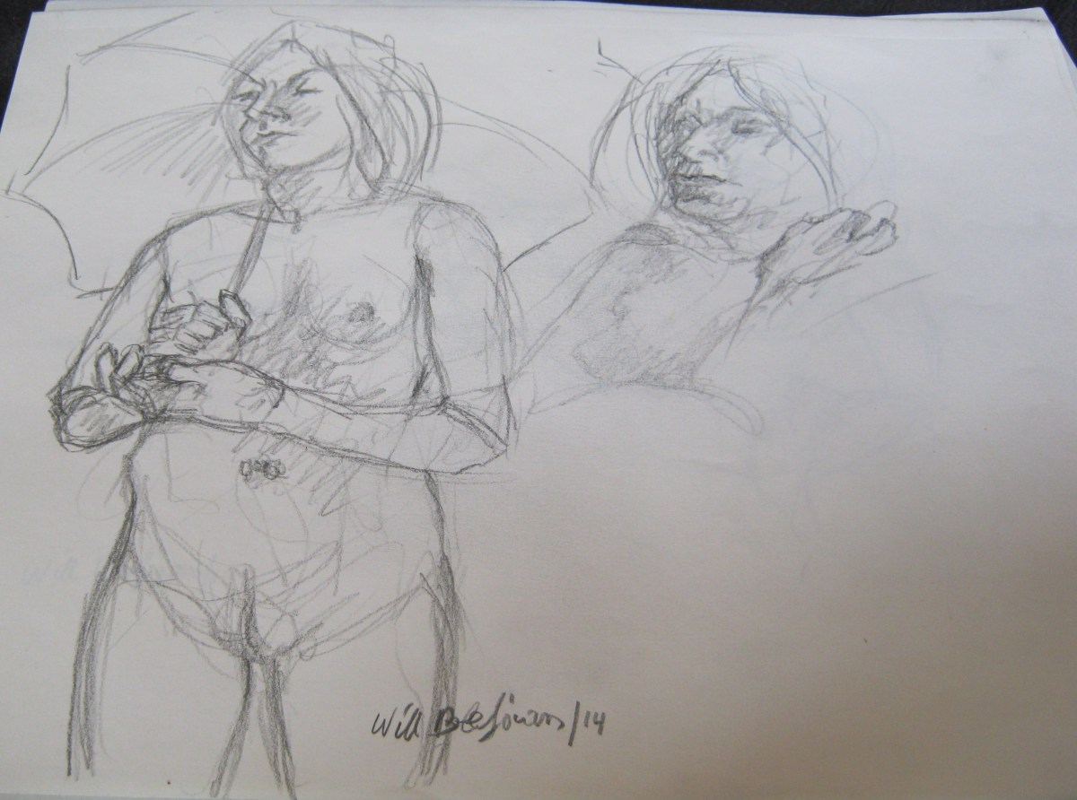 A sketch of Jillian Page holding umbrella in artists' workshop on body acceptance in Montreal on April 27, 2014. (Photo of sketch by Jillian Page