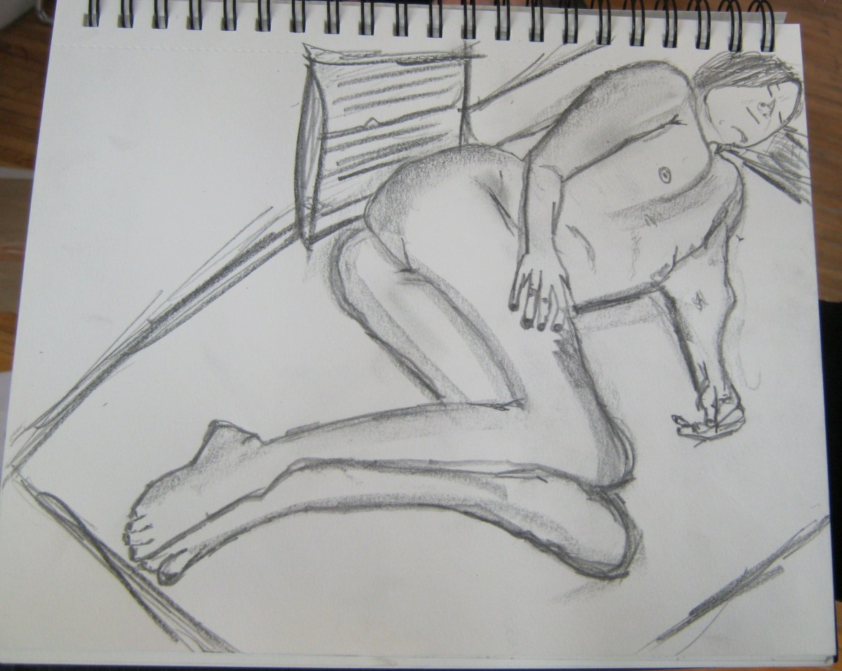 A sketch of Jillian Page in a reclining position for artists' workshop on body acceptance in Montreal on April 27, 2014. (Photo of sketch by Jillian Page
