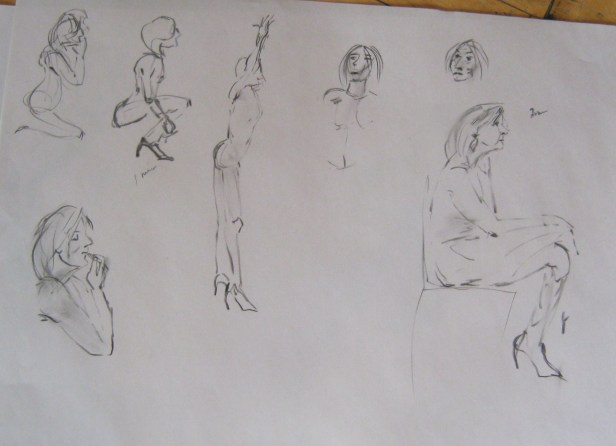 Sketches of Jillian Page in various short poses at artists' workshop on body acceptance in Montreal on April 27, 2014. (Photo of sketch by Jillian Page