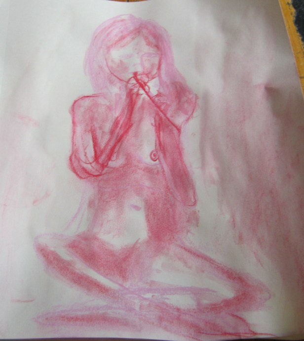 A sketch of Jillian Page playing the Irish whistle at artists' workshop on body acceptance in Montreal on April 27, 2014. (Photo of sketch by Jillian Page