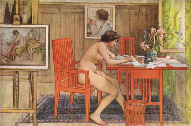 Carl Larsson's Model writing postcards, 1906. (Photo: Carl Larsson - Public domain - via Wikimedia Commons)