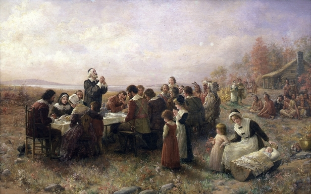 The First Thanksgiving at Plymouth, oil on canvas by Jennie Augusta Brownscombe, 1914. (Wikipedia)
