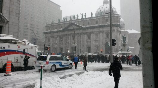 The scene outside Mary Queen of the World Cathedral in downtown Montreal on Wednesday, Dec. 10, as people await the funeral of Montreal Canadiens great Jean Béliveau. (Photo: Jillian Page)