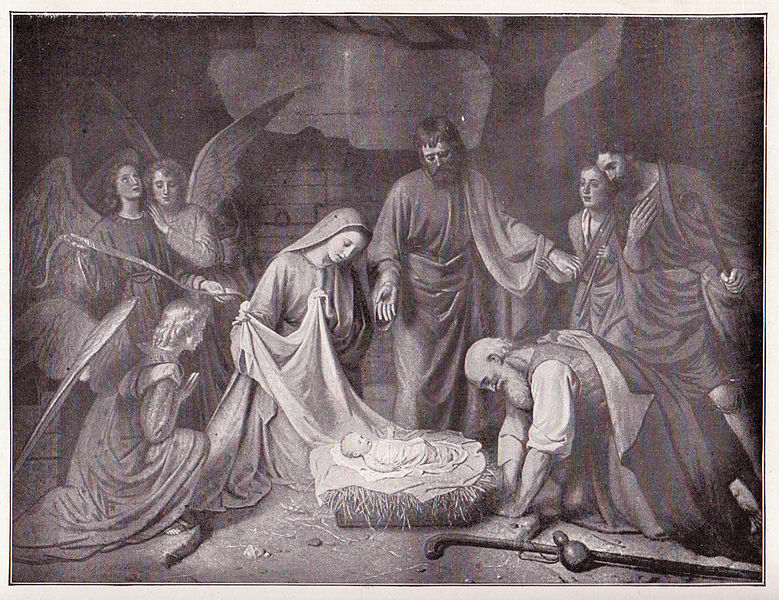 """The illustration is titled """"The First Christmas,"""" from the painting by H.J.Sinkel. (Photo: Wikimedia Commons)"""
