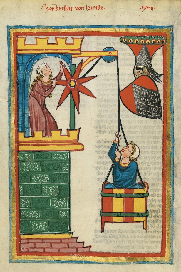Kristan of Hamle's medieval Lovers, Pulled in a Basket, from 1305-15. (Source: Wikimedia Commons)