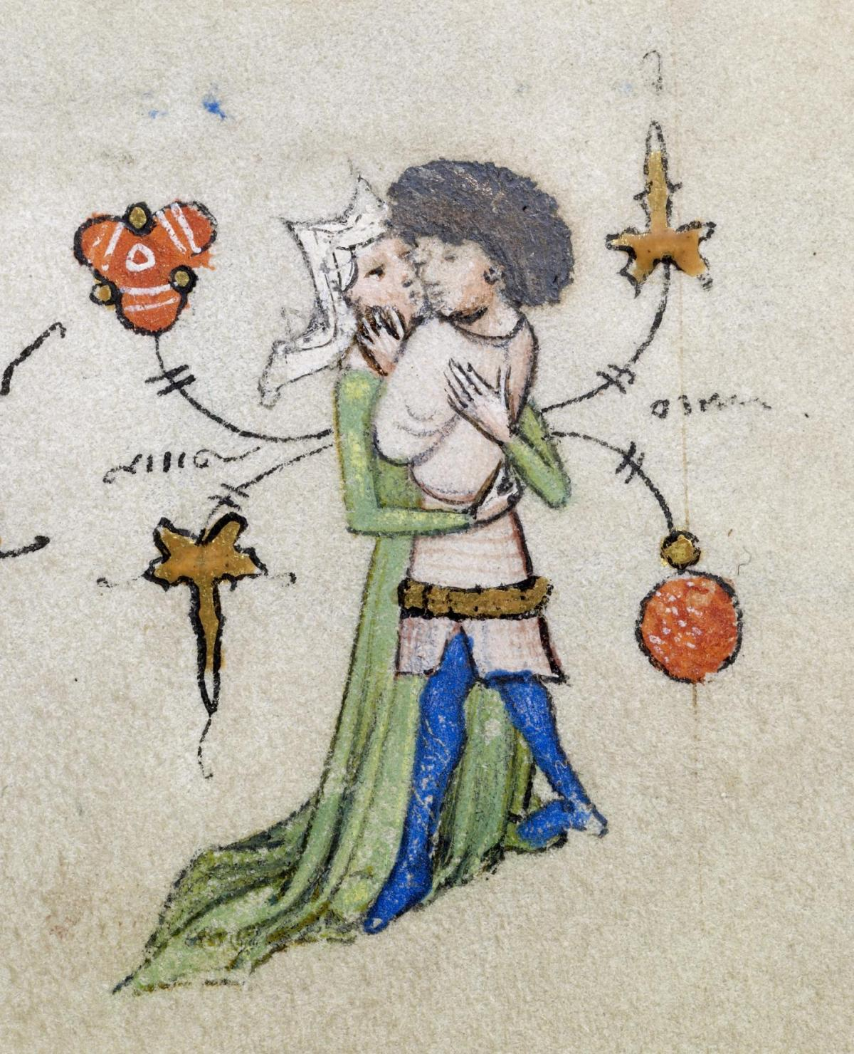 "This parchment from 1425-30 created by Maîtres de Guillebert de Mets is described thus by the Walters Art Museum: ""The trials and games of love can be disheartening, but nothing is more rewarding than finally winning someone's affection. Here, two lovers have dispensed with the games and tenderly embrace. As they hold each other tightly, flowers and golden leaves seem to spring from their very bodies, celebrating the blossoming of love within them. Although it may seem inappropriate to pair lovers with an image of Christ's death, they may be intended to remind us of the eternal joy resulting from that event."" (Source: Walters Art Museum/Wikimedia Commons)"