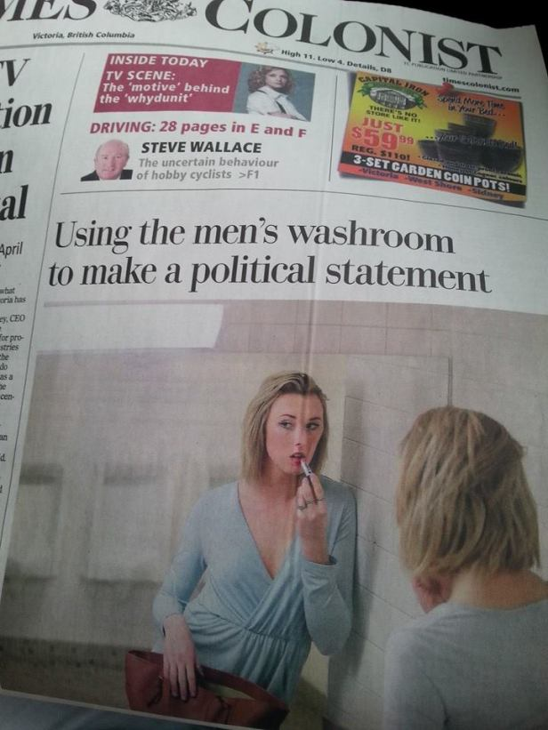 Victoria Times Colonist front page story.