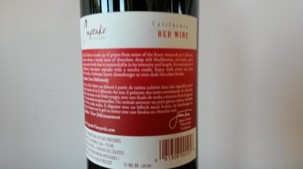 Red Velvet's descriptive wine label by Cupcake Vineyards.
