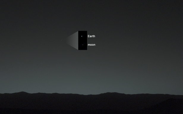 This view of the twilight sky and Martian horizon taken by NASA's Curiosity Mars rover includes Earth as the brightest point of light in the night sky. Earth is a little left of center in the image, and our moon is just below Earth. Two annotated versions of this image are also available in Figures 1 and 2.