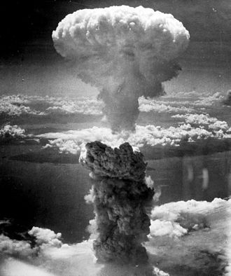The mushroom cloud of the atomic bombing of the Japanese city of Nagasaki on August 9, 1945 rose some 11 miles (18 km) above the bomb's hypocenter. (Photo: Wikipedia)
