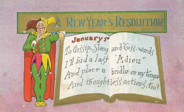 New Year's resolution postcard circa 1909. (Wikimedia Commons)