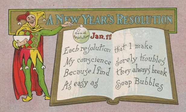 New Year's resolutions postcard circa 1909. (Wikimedia Commons)