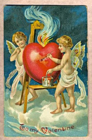 A Valentine greeting card dated 1909. (Wikipedia)