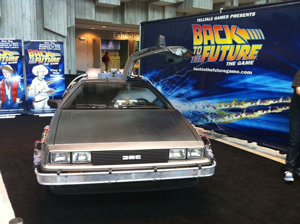If only we could hop into a DeLorean and travel back and forth in time. (Photo: Promoting the Back to the Future game from Telltale. San Diego, Calif., September 2010/by Ewen Roberts on Wikimedia Commons)