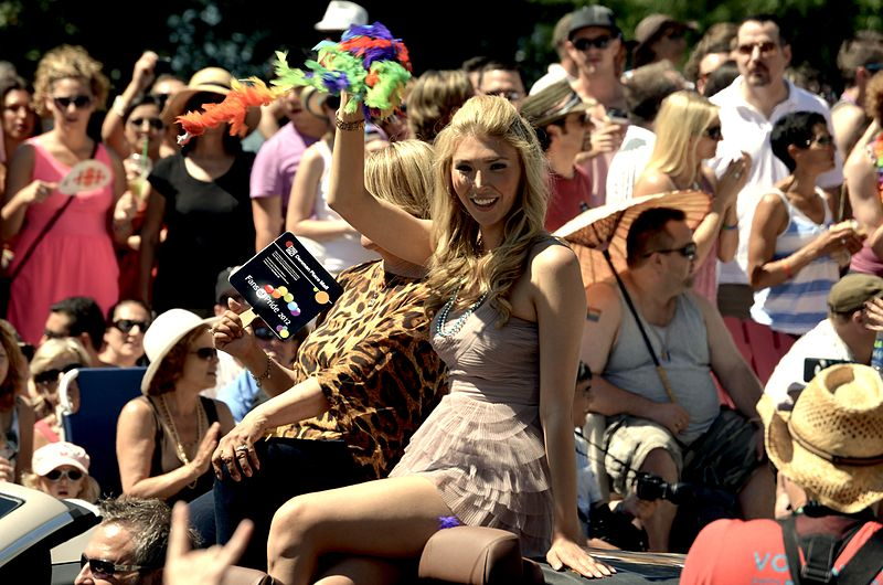 Jenna Talackova as the co-grand marshal of the 2012 Vancouver Pride Parade. (Source: Annie Jackson/Wikipedia)