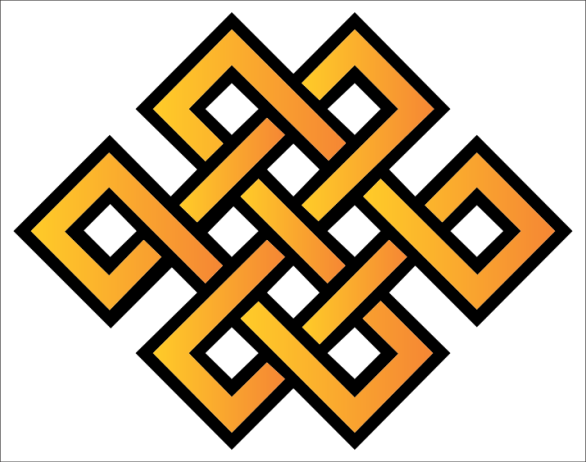 """""""Karma symbols such as endless knot (above) are common cultural motifs in Asia. Endless knots symbolize interlinking of cause and effect, a Karmic cycle that continues eternally."""" -- Wikipedia"""